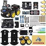 ELEGOO UNO R3 Kit de Coche Robot Inteligente V4.0 Compatible con Arduino IDE con Módulo de Seguimiento de Línea, Sensor Ultrasónico, Módulo IR, Kit Robótico Coche Educativo Stem para Niño, Adul