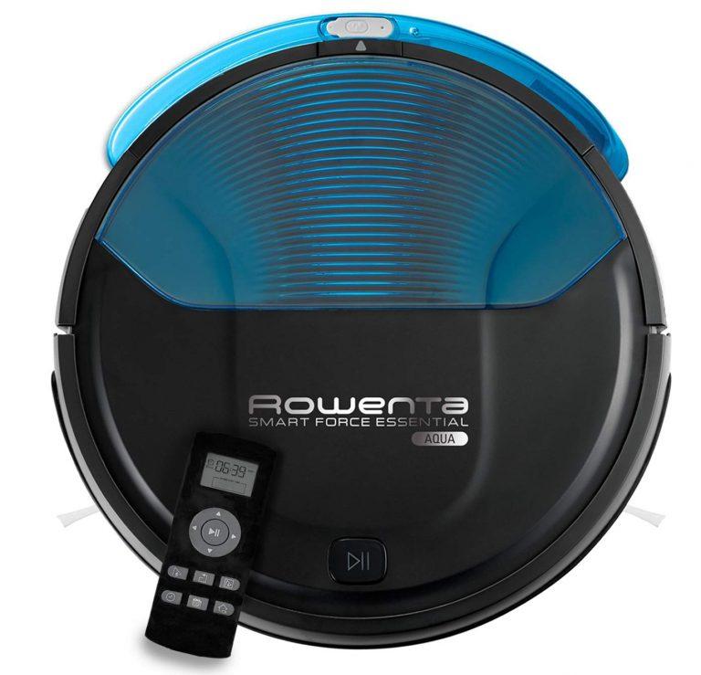 Rowenta Smart Force Essential Aqua RR6971WH - Robot aspirador 2 en 1, aspira y friega, con sensores anticaída, bateria ión-litio de 150
