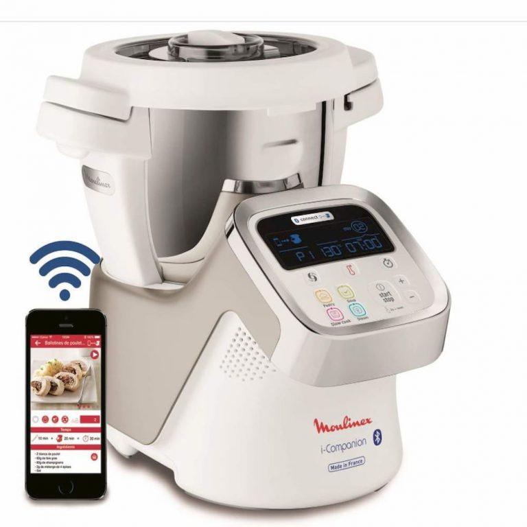 Robot de cocina electrico programable Moulinex i-Companion HF9001 -Bluetooth incluye cuchilla picadora, batidor, mezclador www.comprarobot.com ofertas tienda online electrodomesticos cocina